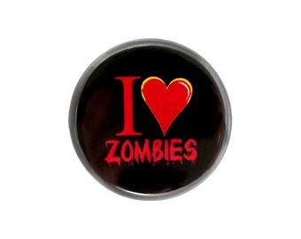"Zombie Button, Small Badge, 1.25"" Pinback Button, I Love Zombies, I Heart Zombies - C1-1"