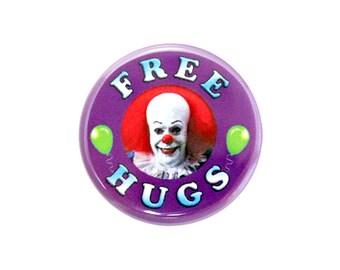 "Free Hugs Button, Pinback Button, Free Hugs Badge, Clown Button, 1.25"" Button - W10"