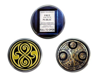 "Whovian Button Set, Doctor Who Fan Badges, Pinback Button, Gallifrey Button, Tardis Button 1.25"" Button"