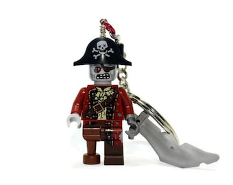 Zombie Pirate Keychain - made from Series 14 LEGO (r) Minifigure, Zombie Keychain