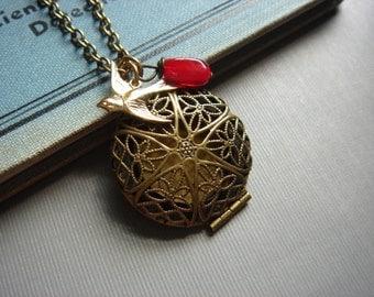 A Little Birdie Told Me, Antiqued Brass Round Locket Necklace, Adorable Gold Brass Sparrow Charm, Handmade Keepsake Jewelry by HoneyNest