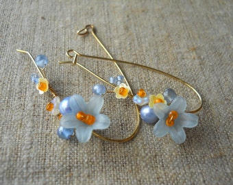 Blue flower hand-beaded earrings, yellow sequin flowers/iridescent glass flower/freshwater pearls/gold  plate elongated earwires/unique gift