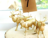 10 Wedding Table Number Holders | Gold Wire Card Holder | Elk Deer Animal North American Wildlife | Unique Wedding Table Stands | Woodland
