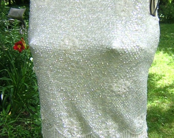 Vintage Pearl White Sequin Shell Top - 1950s Beaded Sleeveless Top with Fringe