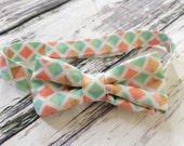 Little Man Bowtie- Mint and Coral Diamonds Baby/Toddler/ Young Boy Bow Tie