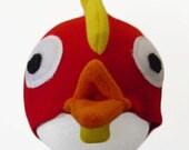 Red Chicken Hat. Bird, Fleece. Five Sizes: Newborn to XL.