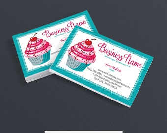 30% OFF SALE Business Card Designs - Bakery Business Card Design -  Printable Business Card Design - Premade - Cupcake Delight 1