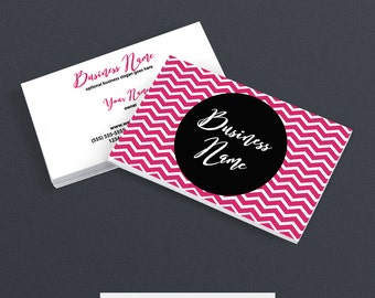 Business Card Designs - Chevron Business Card Design - Pink and Black Business Card Design - Molly