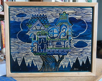 Dream House, Original Carved Wood Painting - Buzz Parker - 11 x 14 inches treehouse trees HOME TREE HOME
