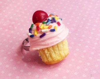 Polymer Clay Pink Vanilla Cupcake Ring, Food Jewelry