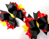 SALE ---  2  Girls Boutique Hair Bows, Minnie Mouse Bow, Pig Tail Bows, Twisted Boutique Hair Bows, Handmade,  Ready To Ship