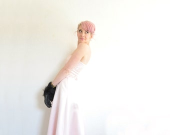 pastel pink unicorn prom dress . sequin sparkle satin 2 piece gown .small