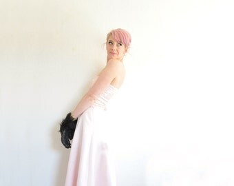 pastel pink unicorn prom dress . sequin satin 2 piece gown .small .sale