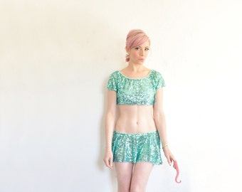 MERMAID sequin mini skirt . aqua blue and mint teal green sparkles .extra small.small.xs .sale s a l e