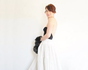 1930 white bridal petticoat . floor length cotton linen underskirt .medium .sale