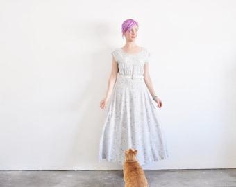 pale gray daisy dress . floral daisies print . long maxi .medium .sale