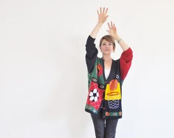 kitsch sports sweater cardigan . soccer basketball football lover .extra large.xl.xxl .sale