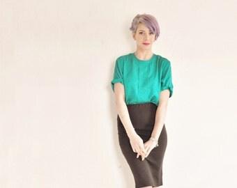 Oleg Cassini green silk blouse . lucky irish paisley print top .medium