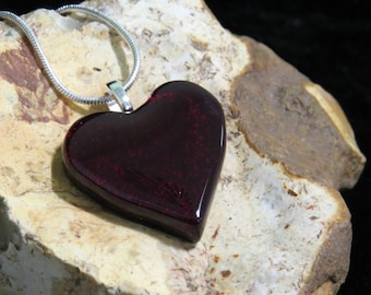 Dichroic Glass Pendant - Fused Glass Jewelry - Dichroic Glass - Dichroic Jewelry - Dichroic Glass Heart Pendant - Fused Glass Heart Pendant