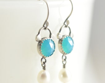 turquoise blue chalcedony and white pearl sterling silver earrings