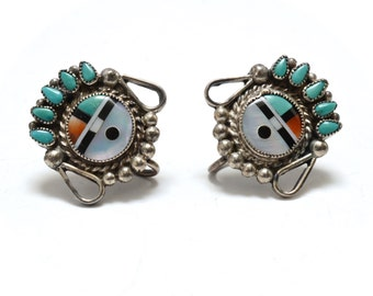 Old Zuni Sun Face Kachina  Silver & Turquoise Inlay Earrings