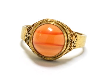 Chinese  Export Agate Vermeil Filigree Ring - Adjustable Band