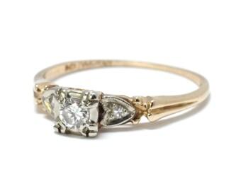Art Deco 14K Filigree Diamond Engagement Ring Size 6 1/4