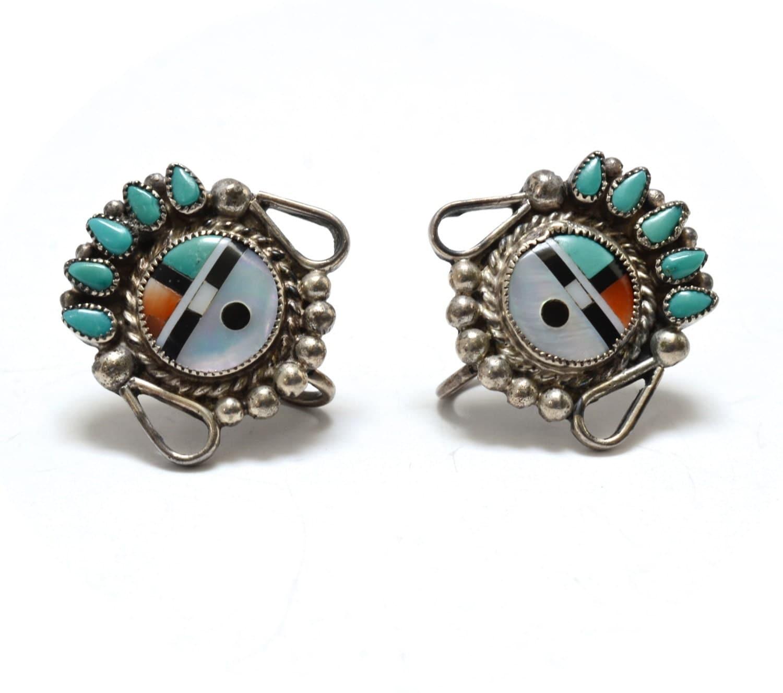 Zuni Earrings: Old Zuni Sun Face Kachina Silver & Turquoise Inlay Earrings
