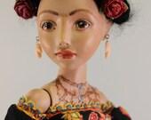 Frida Kahlo, One of a kind (OOAK) Porcelain BJD