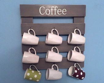 Rustic coffee rack, coffee mug holder, coffee cup display, reclaimed wood, kitchen storage, gray mug holder, gray kitchen decor, coffee cup