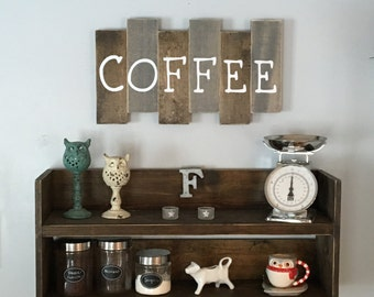 wooden coffee sign, kitchen decor, coffee bar, reclaimed wood, rustic, farmhouse decor