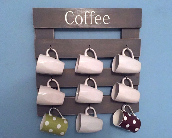 Rustic coffee rack coffee mug holder coffee cup display for Coffee mug display rack