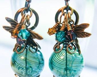 Hand Blown Glass Earrings, Dragonfly Earrings, Glass Earrings, Green Glass Earrings, Blown Glass Earrings, Vintage Earrings, Brass Earrings