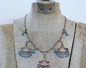 Vintage Persian silver filigree dyed howlite nomadic necklace / 70s nomadic Persia middle eastern dangling festoon blue stone necklace