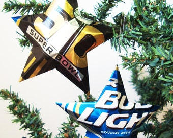 Bud Light, Official Sponsor of Super Bowl 50, Beer Stars, Party Decor, Aluminum Can Upcycled, Budweiser