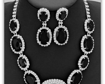 OS Crystal Rhinestone Statement Bridal Necklace and Earrings Set Black & Silver