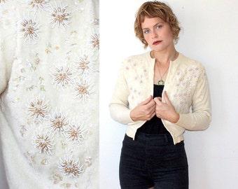 50s Beaded Cardigan / Cream Sweater / Deluxe Pearl Beading Sz XS