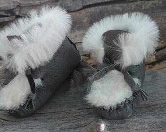 "Baby Mukluks By Desi, Gray Buffalo Leather, 4 3/4"" Long, White Sheepskin Fur Boots, Girl, Boy, Warm Winter Wear, Tribal, Aztec, Moccasins,"