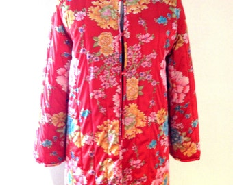 REDUCED 60s Vanity Fair Quilted Jacket Asian Floral LUCITE Buttons Vintage