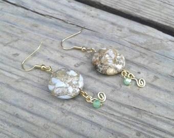 Natural Stone Earrings - Gold Earrings - Gift - Stone Jewelry - Mint Green Earrings - Mint Green Jewelry - Gold - Stone Earrings