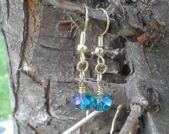 Sea Green and Blue Gold Dangle Earrings - Teal earrings - glass beads