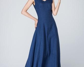 v neck dress,blue maxi dress,long linen dress,sleeveless dress, party dress,prom dress,Cocktail Dress for Women , Custom made dress 1571