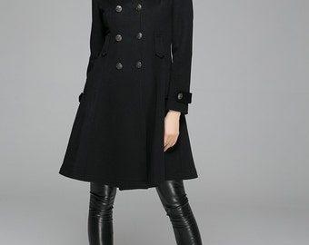 Pea coat, fit and flare coat, hooded coat, black coat, fitted coat, winter coat, short coat, car coat, double breasted coat (1364)