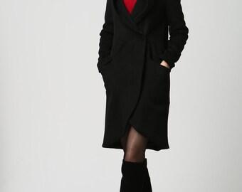 Black wool coat women coat winter warm coat (1124)