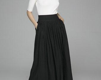 black skirt, pleated skirt, long skirt, linen skirt, ruffle skirt, swing skirt, summer skirt, plus size skirt, gift for women(1384)