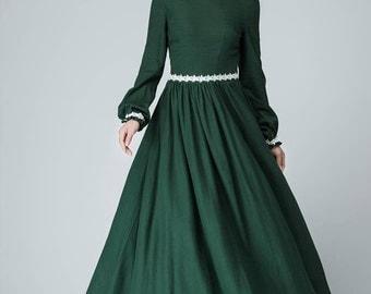 Prom dress,Maxi dress , Green Dress, linen dress, women dress, white lace dress  1464