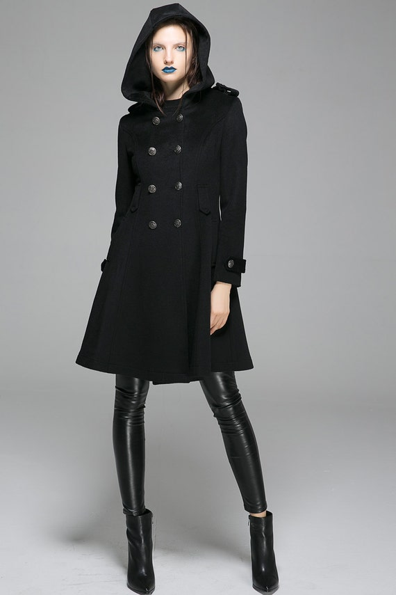 Pea coat fit and flare coat hooded coat black coat fitted