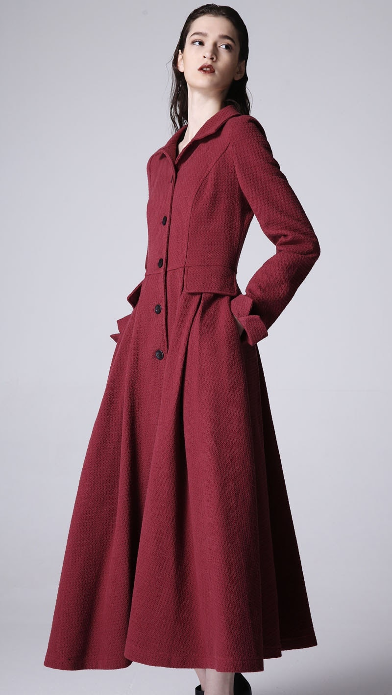 Linen Coat Burgundy Coat Long Coat Burgundy Coat Fall