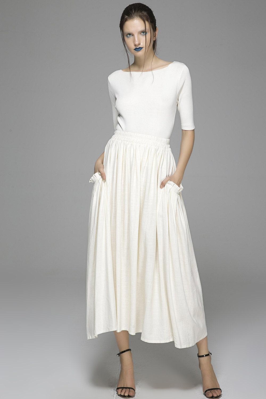 white maxi skirt high waisted skirt maxi skirt linen skirt