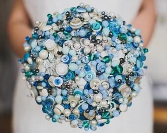 Button bouquet, vintage bouquet, bridal bouquet, rhinestone bouquet, wedding flowers, vintage buttons, button posy, crystal bouquet, posy